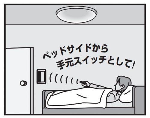 寝室の照明を器具はそのままでワイヤレスリモコン化!とったらリモコンつけました。