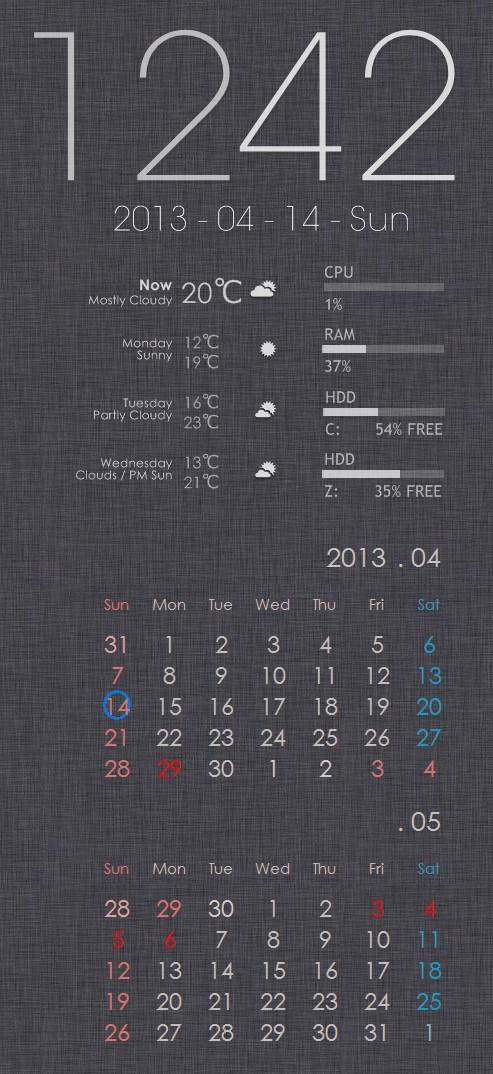 Windows7のガジェットよりおしゃれで軽い!デスクトップに張り付くアプリ(時計、カレンダー、天気予報、CPUやRAM情報など)